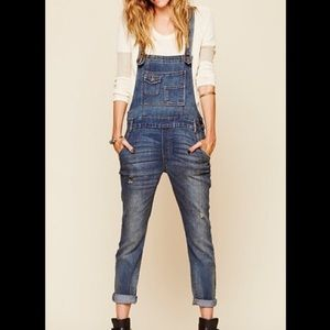 Free People Jeans - Free People skinny denim overalls with stretch